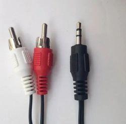 Cabo Audio Auxiliar P2 X 2 Rca Plug Dourado 1.5 Metros